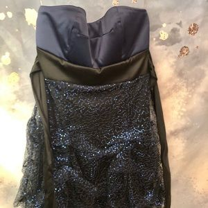 Ruby Rox Blue and Black Sequin Prom Dress Short